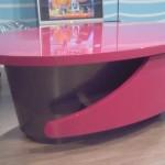 oggetto di design, tavolo per studio televisivo realizzato dall'ebanisteria Ebanistika